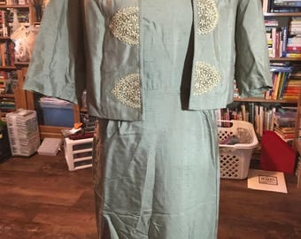 Flawless 1950's Dress and Jacket Set With Lace Appliques