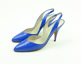 Vintage Leather Caressa High Heels Pumps - Blue Made In Spain - Size 8