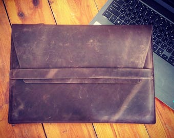 Brown leather laptop cover, laptop case, laptop leather cover, laptop leather sleeve, laptop leather folio, leather case, laptop leather bag
