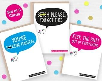 Unicorn stationery, Unicorn Stationary, Set of three Motivational Cards, Funny Adult Unicorn Notecards, Rude Unicorn Note Cards