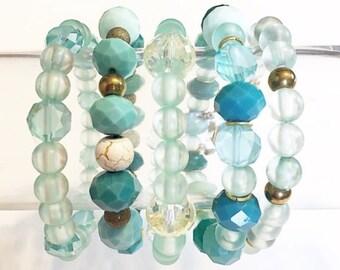 Turquoise beaded bracelet, stack set, Teal beaded Bracelet, Cuff bracelet, turquoise beaded bracelet