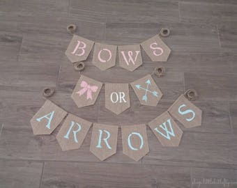 Gender Reveal Banner, Bows or Arrows Gender Reveal, Bows or Arrows Banner, Gender Reveal Party Decor, Boy or Girl Banner, Baby Shower Sign