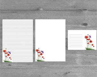 Poppies and Butterfly Letter Writing Paper Stationery Set with matching envelopes, letter writing, stationary set, letter paper, penpal gift
