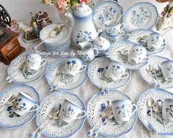 Vintage tea set Schumann, Bavaria, Germany. Openworked porcelain tea set with spoon set.