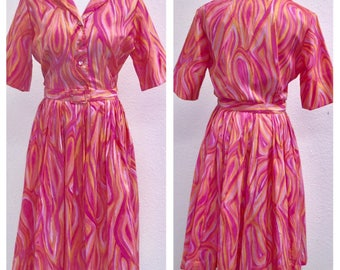 VINTAGE Dixie Deb Pink Orange Print Full Skirt Belted Dress sz S 6/8