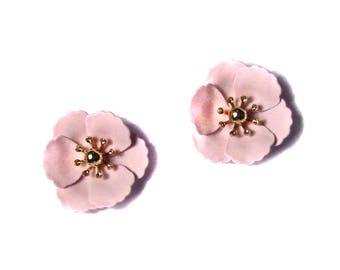 Brilliant Pink Flower Studs Statement Earrings