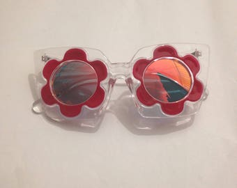 Flower Sunglasses, Red, Clear Frame, Reflective Lens