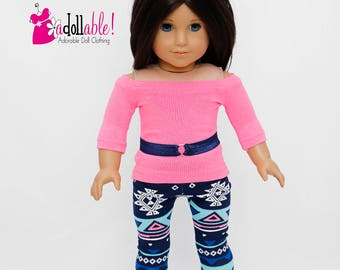 American made Girl Doll Clothes, 18 inch Doll Clothing, Boatneck Top, Geometric Leggings made to fit like American Girl doll clothes