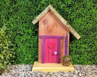 Dark Rose Fairy Door with Pink Heart and Fairy Flower Pot