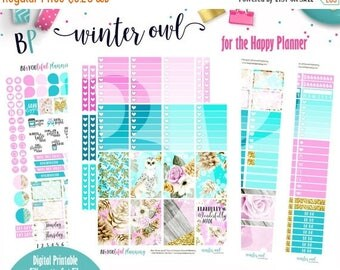 1YRSALE Winter Owl | Weekly Printable Planner Kit | Planner Stickers | Cut Line Files | for use with Happy Planner | Planner Stickers Printa