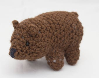 Amigurumi stuffed crochet brown bear