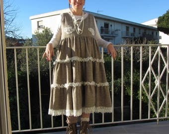 At least 10% on this dress long boho romantic shabby tweed ruffle lace and French toile de jouy, timeless garment