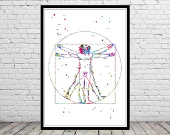 Vitruvian Man, L'Uomo Vitruviano, Leonardo da Vinci, da Vinci Vitruvian Man, watercolor Vitruvian Man, Vitruvian Man print (3885b)
