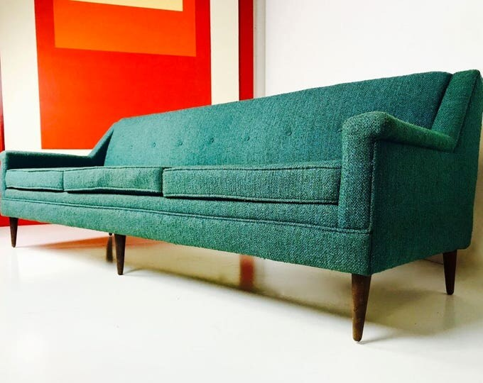 Mid Century Modern Dunbar Attr Long Low Turquoise Sofa With Reversible Cushions