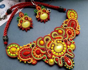 Jewellery set. NECKLACE and EARRINGS handmade Soutache jewelry. orecchini & collana. Accessory.