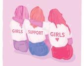GIRLS SUPPORT GIRLS Postcard - Feminist Postcard - Feminist Artwork - Feminist Holiday Gift - Best Girlfriend Present - Best Friends