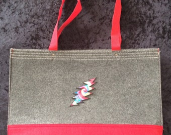 Rainbow Bolt Red/Gray Canvas Tote Bag