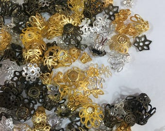 Grab of Mixed Lots Bead Caps-Assorted Shape Bead Caps-Assorted Size Bead Caps-Mixed Lots Bead Caps