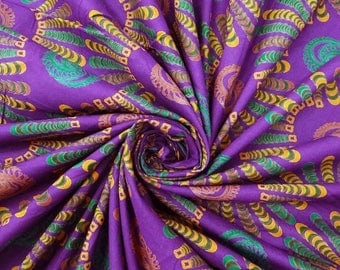 """Cotton Cambric Fabric, Abstract Print, Purple Fabric, Designer Fabric, Sewing Decor, 42"""" Inch Fabric By The Yard ZBC1727"""