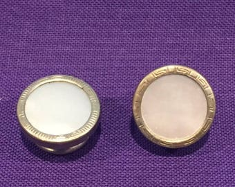 summer17 Edwardian Silver-tone Mother of Pearl pull-apart Cuff Link (Single) - CA 1920's - Item 1631806