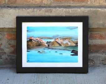 Patagonia Mountain Scene - Watercolor Painting - Lustre Paper Prints