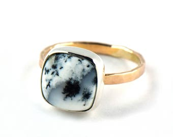 Dendritic Agate Ring - 14K Gold Cocktail Ring - Boho Statement Ring - Handmade Black and White Gemstone Ring - Unique Rings for Her