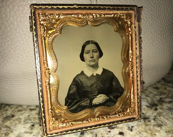 Antique Ruby Ambrotype Photograph of a beautiful woman, tinted cheeks 1/6 plate