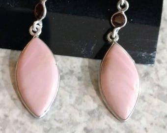 Pink Opal and Garnet Earrings