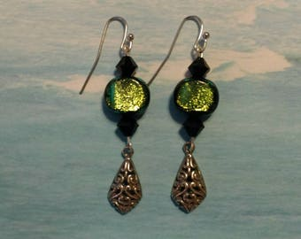 Black and Green Dichroic Glass Bead Earrings