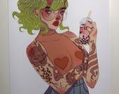 Bubble Tea Baby Art Print
