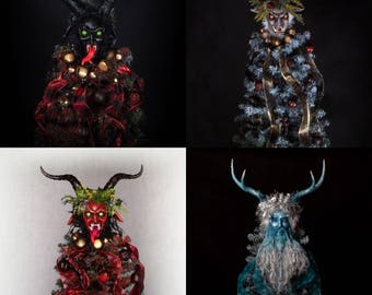 Krampus Tree Toppers - customizable handmade holiday krampus sculpture