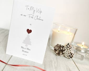 Personalised First Christmas Card, First Christmas Card, Wife's First Christmas, Card To Wife At Christmas, Wife's Card, Christmas Card
