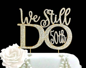 Anniversary Party 50th Vow Renewal Ceremony Cake topper Rhinestone centerpiece party decoration