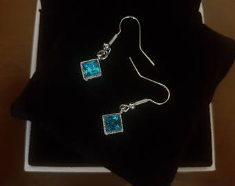 Turquoise Swarovski Crystal Dangle Earrings
