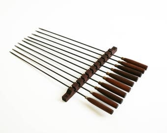 Mid Century Fireplace Wall Hanging Skewers BBQ Barbecue