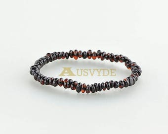 Baltic amber bracelet, Dark cherry Color, Natural amber for Adults, Remedy, Healing amber,  Beads jewelry, 18 cm (7,1 inch) 5302