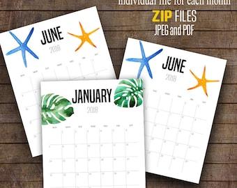 "2018 Calendar, Tropical Luau wall calendar, Printable Monthly Calendar, Printable Calendar, 8"" x 10"" Each month ~ C105"
