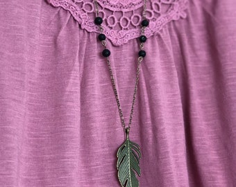 Antique Bronze Tone Leaf 6 Lava Bead Diffuser Necklace