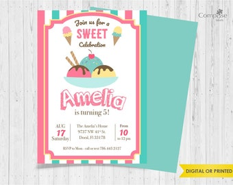 Sweet & Ice cream - Invite your guests with personalized party invitations - Digital or Printed - Birthday Invitation - Girl Birthday Party