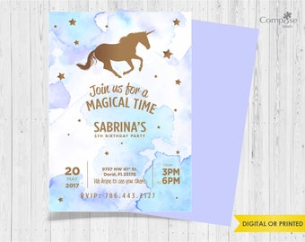 Unicorn - Invite your guests with personalized party invitations - Digital or Printed - Birthday Invitation - Girl Birthday Party