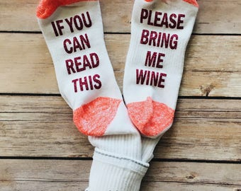 If You Can Read This Please Bring Me Wine glitter socks funny womens ladies gift READY TO SHIP