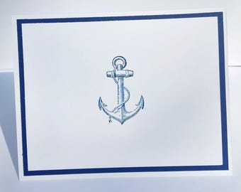 Hand stamped anchor card set with envelopes