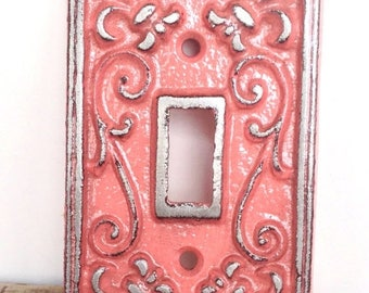ON SALE Coral Light Switch Cover - Lightswitch Plate - Coral Wall Decor - Wall Accents - Light Switch Plate - Shabby Chic - French Country D