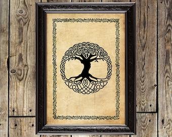 Yggdrasil, World Tree, viking print, heathen, asatru, pagan print, norse art, nordic magic, heathen symbol, scandinavian decor, Norse, 184