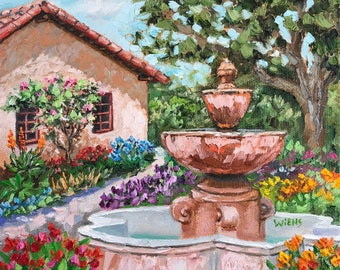 "Carmel Mission Fountain, 8x8"" original oil painting"