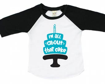 Cake smash shirt - birthday cake t shirt - birthday shirt for boys - birthday raglan - baseball tee - all about that cake - bday - tee