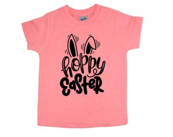 Hoppy Easter shirt - Easter shirt for boys - girls Easter shirt - Bunny shirt - toddler - baby - t shirt - Easter top - bunny ear - cute
