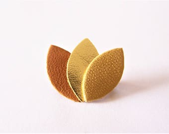 Brooch Leather Brown, gold and yellow ochre