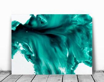 Art Painting Acrylic, Paintings Abstract Small, Wall Art  Aqua Turquoise Home Decor Small ,Hanging  Art,  Coastal Home Decor