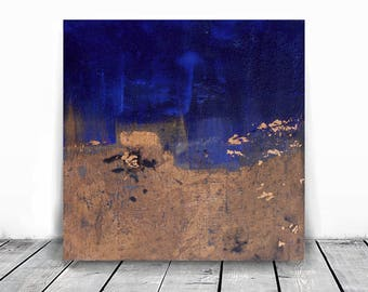 Home decor, small painting, wall art, Landscape Painting, Contemporary Art, , original painting, acrylic, cobalt blue and copper,